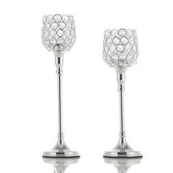 VINCIGANT Silver Long Stem Crystal Candle Holders/Tea Light