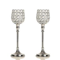 VINCIGANT Set of 2 Silver Crystal Pillar Candle Holder Moder