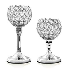VINCIGANT Silver Crystal Pillar Candle Stand Holders Set of