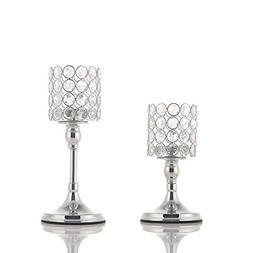 VINCIGANT Silver Cylinder Ball Crystal Candle Holder Set of