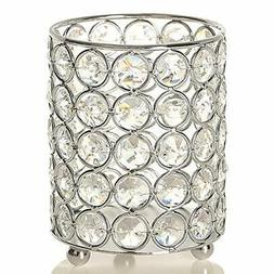 silver cylinder crystal tealight candle holder 3