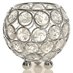 VINCIGANT Silver Crystal Tealight Candle Sleeve Holders Cent