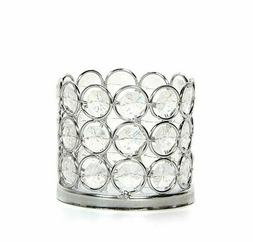 Silver Finish Sparkle Gem LED Candle Holder 3 Inch Diameter
