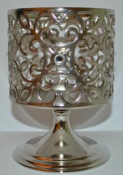 Bath & Body Works Silver Gem Scroll Pedestal Candle Sleeve H
