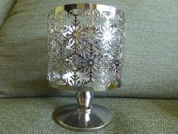 BATH AND BODY WORKS SILVER PEDESTAL CANDLE HOLDER FOR 14.5 O