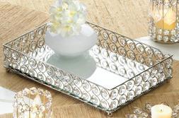 silver prism crystal diamond gem square candle holder plate