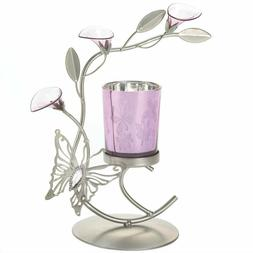 Silver & Purple Butterfly Lilly Candle Holder Metal Sculptur
