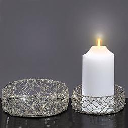 The Silver Smoke Crystal Beaded Candle Plates, Set of 2, Han