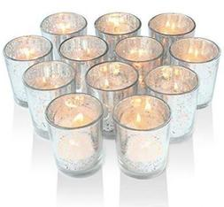 Volens Silver Votive Candle Holders, Mercury Glass Tealight
