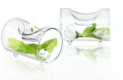 JoyJolt Set of 2 Single Clear Glass TeaLight Candle Holders