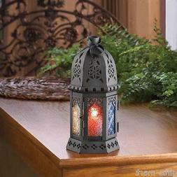 "small RAINBOW multi-color Moroccan 10"" Candle holder Lantern"