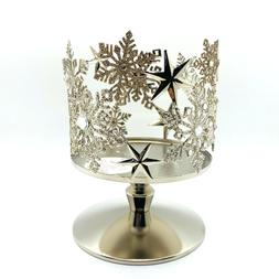 BATH BODY WORKS SNOWFLAKES STARS PEDESTAL LARGE 3 WICK CANDL