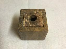 Soapstone Candle Holder, Fits 6 Sizes, 2 Pieces, Brown