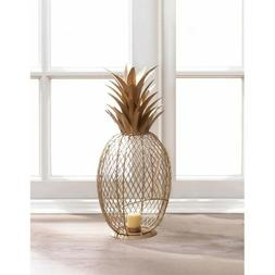 SOLID IRON GOLDEN PINEAPPLE TEALIGHT  CANDLE HOLDER HOME DEC