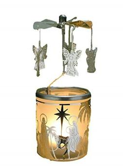 BANBERRY DESIGNS Spinning Angels Candle Holder with Holy Fam
