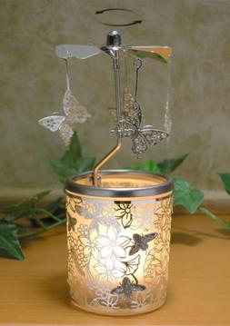 BANBERRY DESIGNS Spinning Butterfly Candle Holder with Flowe