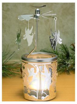 BANBERRY DESIGNS Spinning Candle - Silver Angel Charms Spin