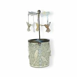 BANBERRY DESIGNS Spinning Hummingbird Candle Holder - Silver