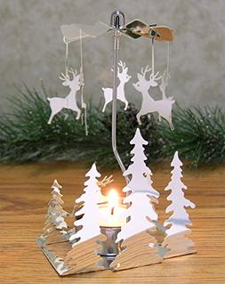 Spinning Metal Candle Holder - Reindeer Charms Spin Around W