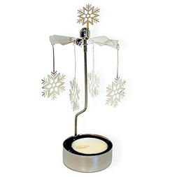 BANBERRY DESIGNS Spinning Snowflake Candle Holder - Silver L