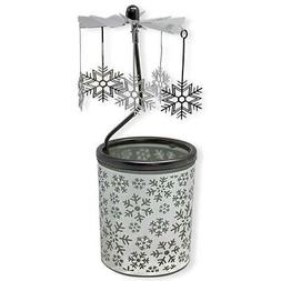 BANBERRY DESIGNS Spinning Snowflakes Candle Holder with Fros