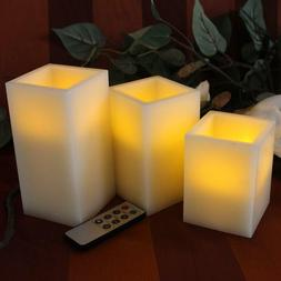 BEST SQUARE FLAMELESS LED CANDLES WITH TIMER REMOTE CONTROL,