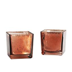 Supreme Lights Square Glass Candle Holders,Speckled Mercury