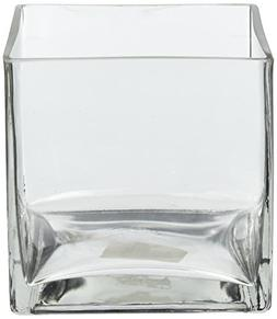 """5"""" Square Glass Vase - 5 Inch Clear Cube Centerpiece - 5x5x5"""