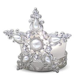 Star Candle Holder Jeweled Silver Metal Filigree and Frosted