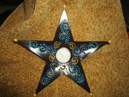 Star Tea Light Candle Holder 8 X 8 -Teal, Brown,Yellow-Comes