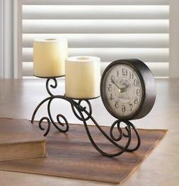 TABLE TOP DESK MANTEL FREE STANDING CLOCK WITH PILLAR CANDLE