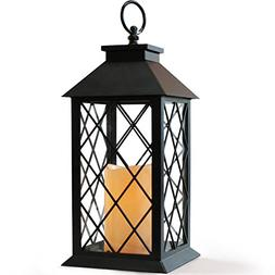 """BRIGHT ZEAL 14"""" TALL Black Vintage Candle Lantern with LED F"""