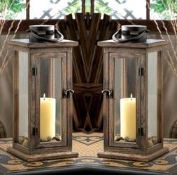 """3 large 20"""" tall brown wood & metal Candle holder Lantern"""