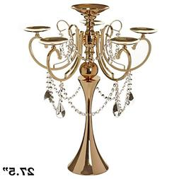 "Tableclothsfactory 27.5"" Tall Gold Metal Candelabra Chandeli"