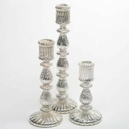 Richland Taper Candle Holders Ribbed Unique Mercury