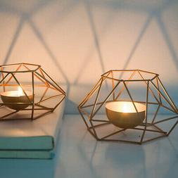 Tea Light Candle Holder Gold Wire Geometric Style Candlestic