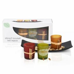 Mesha Tea Light Candle Holder Set With 3 Decorative Candle H
