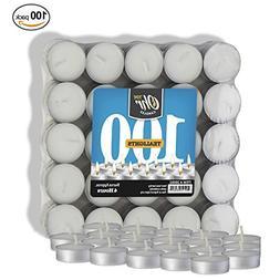 Ohr Tea Light Candles - 100 Bulk Pack - White Unscented Trav