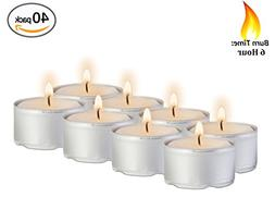 6 Hour Tea Light Candles - 40 Pack Bulk Package - White Unsc
