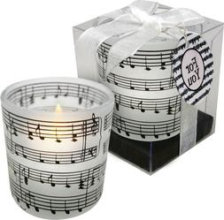 """Tea Light with 2"""" frosted music-themed candle holder"""