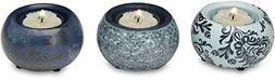 Up Words by Pavilion Teal Mini Tea Light Candle Holders, Set