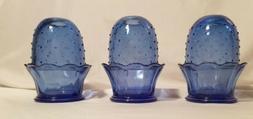 Three 2-Piece Blue Point Fairy / Candle Lamp / Votive Holder