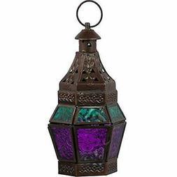 Turquoise &amp Purple Moroccan Lantern Metal Glass Candle Ho