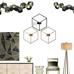 US 3D Geometric Wall Mounted Candle Holder Metal Light Home