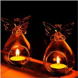 US Angel Glass Crystal Hanging Tea Light Candle Holder Home