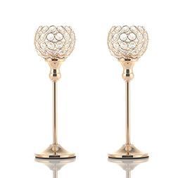 VINCIGANT Gold Crystal Votive Pair Candle Holders for Weddin