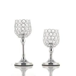 VINCIGANT Valentines Day Silver Crystal Candle Holders Set o
