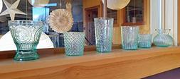 Luna Bazaar Victorian Elegance Vintage Green Glass Candle Ho