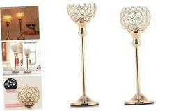 VINCIGANT Gold Crystal Pillar Candle Holders,Set of 2 Candle
