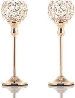 VINCIGANT Gold Crystal Votive Candle Holders for Fireplace C